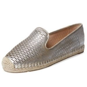 VINCE CAMUTO Delina Perforated Silver Espadrilles